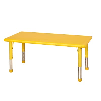ECR4Kids 24 x 48 Resin Adjustable Activity Table, Yellow (ELR-14405-YE)