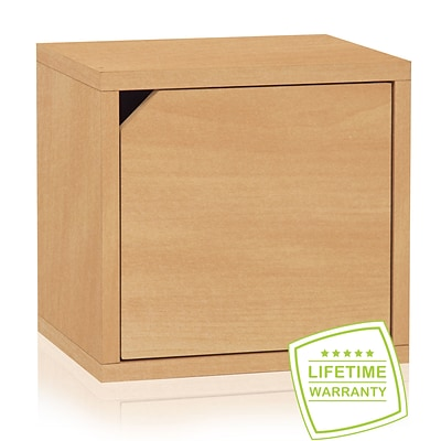 Way Basics Eco Stackable Connect Storage Cube with Door, Natural Wood Grain - Lifetime Guarantee