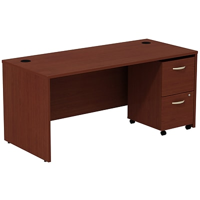 Bush Business Westfield 66W Shell Desk with 2-Drawer Mobile Pedestal, Cherry Mahogany