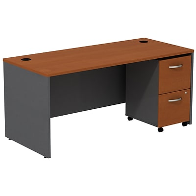 Bush Business Westfield 66W Shell Desk with 2-Drawer Mobile Pedestal, Autumn Cherry/Graphite Gray