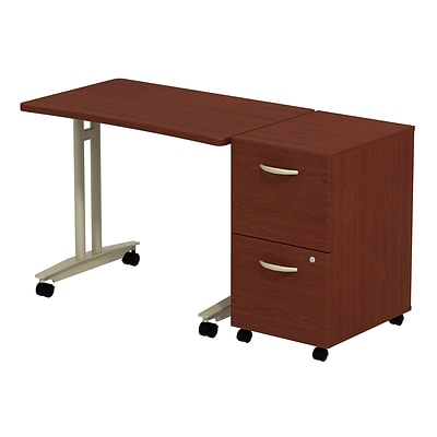 Bush Business Westfield Adjustable Height Mobile Table w/ 2-Drawer Mobile Pedestal, Cherry Mahogany