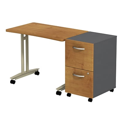 Bush Business Westfield Adj. Hgt Mobile Table w/ 2-Dwr Mobile Pedestal, Natural Cherry/Graphite Gray