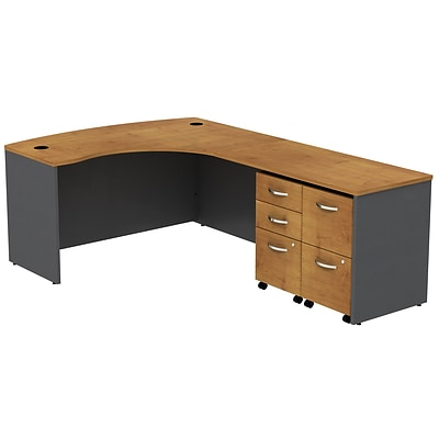 Bush Westfield 60W RH BowFrnt L-Desk; 2 & 3 Dwr Mobile Pedestal, Nat Cherry/Graphite Gray, Installed