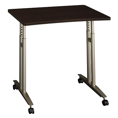 Bush Business Furniture Westfield Adjustable Height Mobile Table, Mocha Cherry, Installed (WC12982FA)