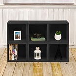 Way Basics 25.6H x 40.2W 6 Stackable Modular Modern Eco Storage Cube System, Black Wood Grain (PS-