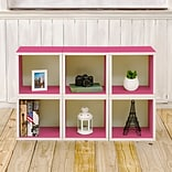 Way Basics 25.6H x 40.2W 6 Stackable Modular Modern Eco Storage Cube System, Pink (PS-MC-6-PK)
