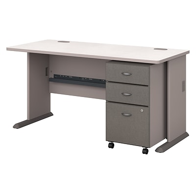 Bush Business Furniture Cubix 60W Desk with Mobile File Cabinet, Pewter (SRA003PESU)