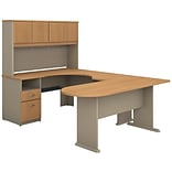 Bush Business Cubix 60W Corner Desk in U-Config with Bridge, Peninsula and Hutch, Danish Oak/Sage