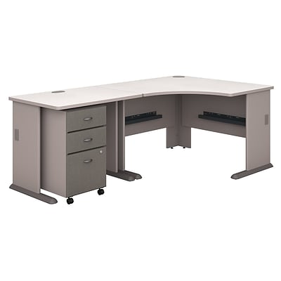 Bush Business Cubix 36W Desk w/ 48W Corner Desk & Mobile Pedestal, Pewter/White Spectrum, Installed
