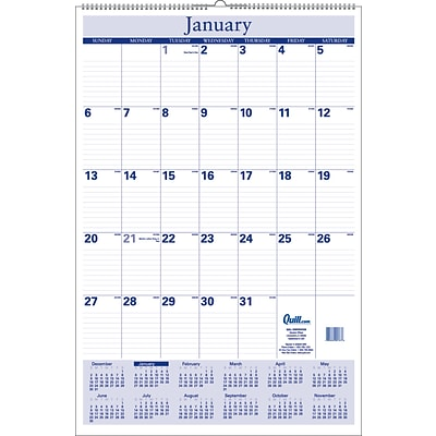 2020 Quill Brand® 30 x 20 Monthly Wall Calendar, Blue (52165-20)