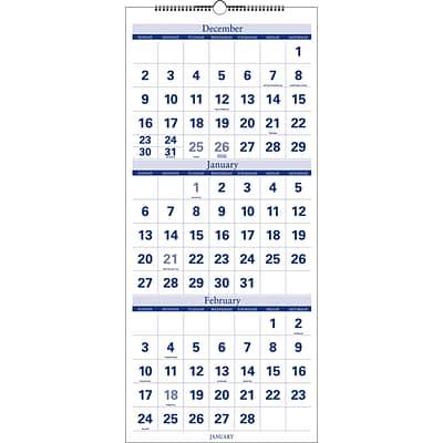 2019 Quill Brand Quarterly Wall Calendar Blue 27 X 12 52166 19