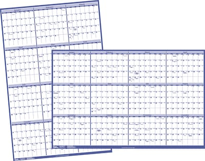 "2019 Quill Brand® Erasable Wall Calendar; Blue, 32 x 48"" (52167-19-QCC)"
