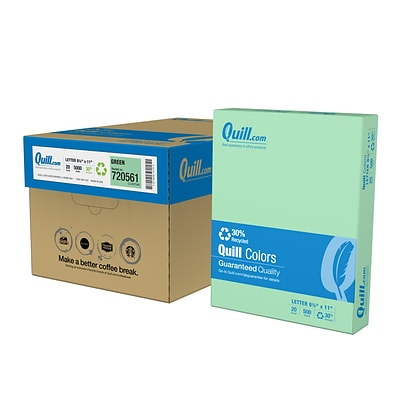 Quill Brand® 30% Recycled 8.5 x 11 Multipurpose Paper, 20 lbs., Green, 500 sheets/Ream, 10 Reams/Carton (720561CT)
