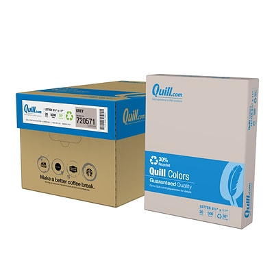Quill Brand® 30% Recycled 8.5 x 11 Multipurpose Paper, 20 lbs., Gray, 500 sheets/Ream, 10 Reams/Carton (720571CT)