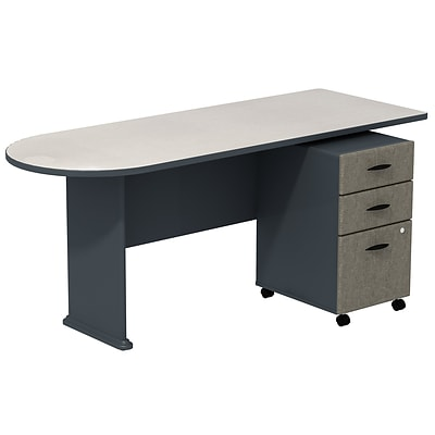 Bush Business Cubix 72W Peninsula Desk with 3-Drawer Mobile Pedestal, Slate/White Spectrum