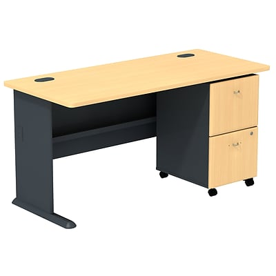 Bush Business Cubix 60W Desk with 2-Drawer Mobile Pedestal, Euro Beech/Slate, Installed
