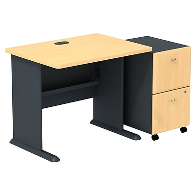 Bush Business Cubix 36W Desk with 2-Drawer Mobile Pedestal, Euro Beech/Slate