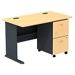 Bush Business Cubix 48W Desk with 2-Drawer Mobile Pedestal, Euro Beech/Slate