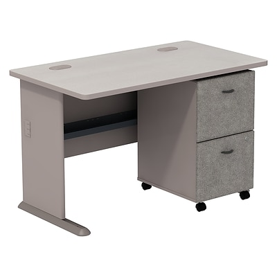 Bush Business Cubix 48W Desk with 2-Drawer Mobile Pedestal, Pewter/White Spectrum