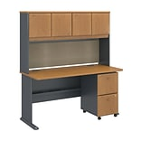 Bush Business Furniture Cubix 60W x 27D Desk with Hutch and 2 Drawer Mobile Pedestal, Natural Cherry