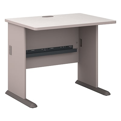 Bush Business Cubix 36W Desk, Pewter/White Spectrum, Installed