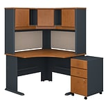 Bush Business Furniture Cubix 48W Corner Desk with Hutch and Mobile File Cabinet, Natural Cherry (SR