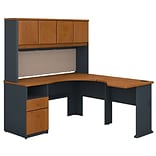 Bush Business Furniture Cubix 60W x 65D L Shaped Desk with Hutch and 2 Drawer Pedestal, Natural Cher