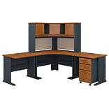 Bush Business Furniture Cubix 84W x 84D Corner Desk with Hutch and Mobile File Cabinet, Natural Cher