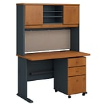 Bush Business Furniture Cubix 48W Desk with Hutch and Mobile File Cabinet, Natural Cherry (SRA049NCS
