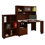 Bush Furniture Cabot Corner Desk with Hutch and 6 Cube Organizer, Harvest Cherry (CAB006HVC)