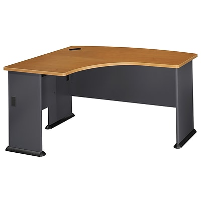 Bush Business Cubix 60W x 44D Left Hand L-Bow Desk, Natural Cherry/Slate
