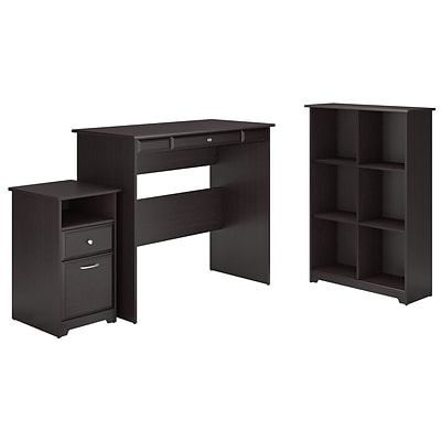 Bush Furniture Cabot Standing Desk with 6 Cube Bookcase and 2 Drawer Pedestal, Espresso Oak (CAB037EPO)