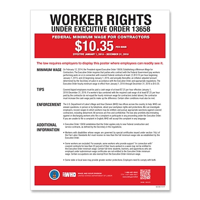 ComplyRight Federal Minimum Wage for Contractors Poster, Spanish