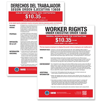 ComplyRight Federal Minimum Wage for Contractors Poster, Bilingual