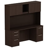 Bush Business 300 Series 72W x 22D Double Pedestal Desk with 72W Hutch, Mocha Cherry