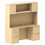 Bush Business 300 Series 66W x 22D Double Pedestal Desk w/ 66W Hutch Storage w/ Doors, Natural Maple