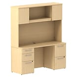 Bush Business 300 Series 60W x 22D Double Pedestal Desk w/ 60W Hutch Storage w/ Doors, Natural Maple