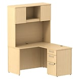 Bush Business 300 Series 48W x 22D Shell Desk L-Config w/ 3 Dwr Pedestal & Hutch, Natural Maple
