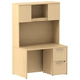 Bush Business 300 Series 48W x 30D Shell Desk with 2 Drawer Pedestal and 48W Hutch, Natural Maple