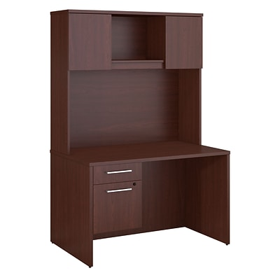 Bush Business Furniture Emerge 48W x 30D Desk with Hutch and 3/4 Pedestal, Harvest Cherry (300S102CS)