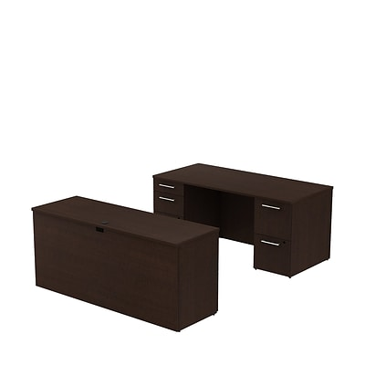 Bush Business 300 Series 66W x 30D Double Pedestal Desk with 66W Credenza, Mocha Cherry
