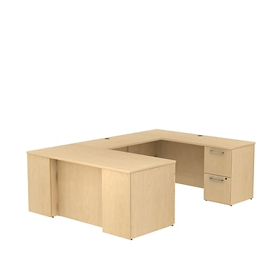 Bush Business 300 Series 66W x 30D Desk in U-Configuration w/ 2 & 3 Drawer Pedestals, Natural Maple