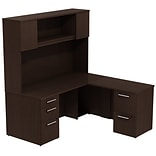 Bush 300 Series 66W x 30 D L-Desk with Storage & 66H Tall Hutch, Mocha Cherry