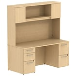 Bush Business 300 Series 66W x 22D Double Pedestal Desk w/ 66H Hutch Storage w/ Doors, Natural Maple