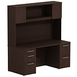 Bush Business 300 Series 66W x 22D Double Pedestal Desk w/ 66H Hutch Storage w/ Doors, Mocha Cherry