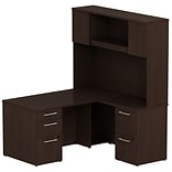 Bush Business 300 Series 60W x 30D Single Pedestal Desk L-Config w/ Pedestal & Hutch, Mocha Cherry