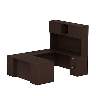 Bush Business 300 Series 72W x 30D Desk U-Config w/ 2 & 3 Drawer Pedestal & Hutch, Mocha Cherry