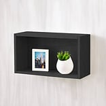 Way Basics 11.2H Wall Rectangle Floating and Modern Decorative Eco Shelf, Black Wood Grain (W-RECT-