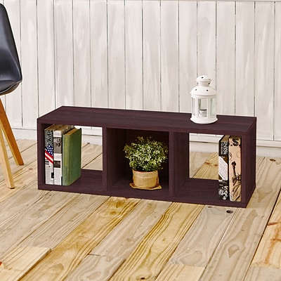 Way Basics zBoard Paperboard 3 Cubby Stackable Storage Bench, Espresso