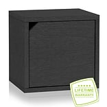 Way Basics C-DCUBE-BK 12.6H x 13.4W Modular Connect Eco Storage Cube with Door, Black Wood Grain